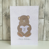 3rd Birthday card large A5 personalised teddy bear