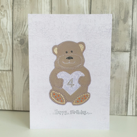 4th Birthday card large A5 personalised teddy bear child's milestone 4 birthday
