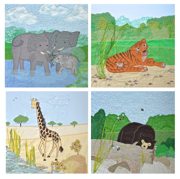 Birthday card multi buy of 4 zoo animals