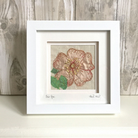 Briar rose dog rose silk textile artwork - anniversary gift