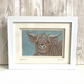 Highland Cow mini textile artwork