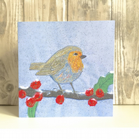 Robin christmas card - robin red breast bird
