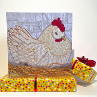 Birthday card - chicken on hay nest