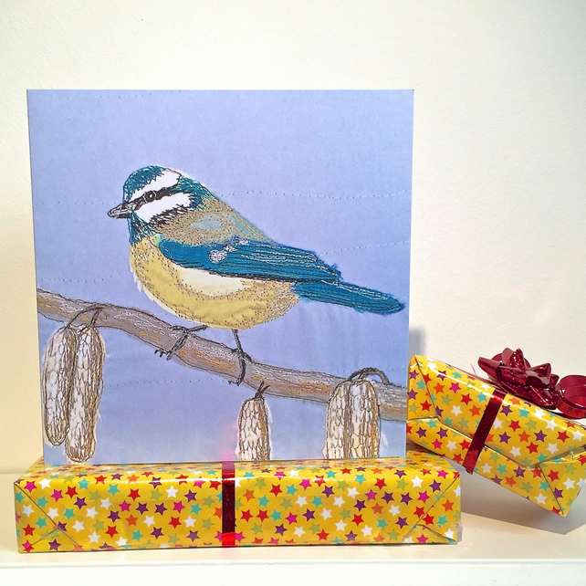Birthday card - bluetit bird