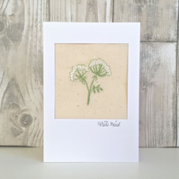 Thank you card - Cow parsley floral flower embroidered textile design