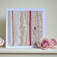 Wedding card - luxury premium embroidered rose textile embroidery