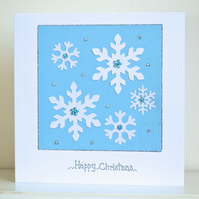 Christmas card - large Christmas snowflake luxury snowflakes jewel card