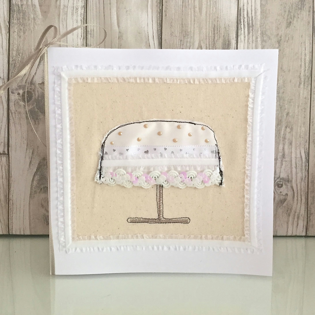 Wedding cake card - luxury contemporary decoration created with retro embroidery