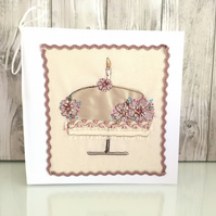 Birthday card - silk birthday cake embroidered with pink silk flowers