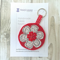 Stocking filler Textile floral keyring - key ring felt, floral bag charm, flower