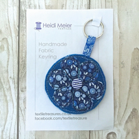 Textile flower keyring - key ring felt, floral bag charm