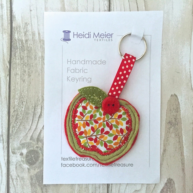 Apple keyring - apple fabric textile key ring or bag charm, stocking filler