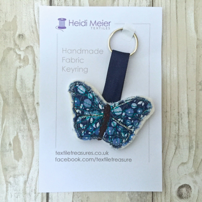 Textile butterfly keyring - key ring felt, floral fabric butterfly bag charm