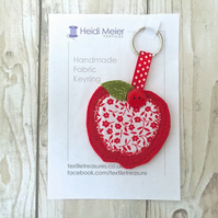 Apple textile keyring - felt fabric key ring, teachers thank you christmas gift