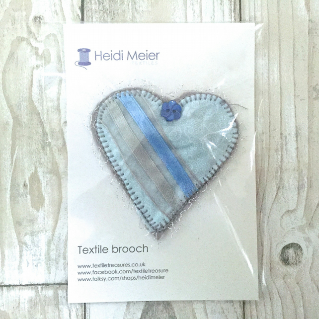 Heart brooch - textile fabric brooch or hat accessory blue heart stocking filler