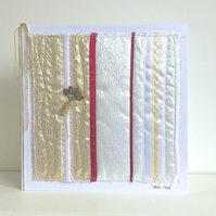 Wedding Anniversary Card - ruby, golden abstract textile, 40, 50, 40th, 50th