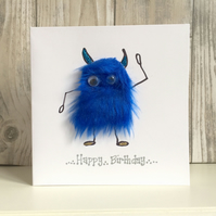 Birthday card - fun furry mini-monster