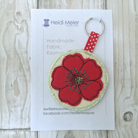 Bridesmaid Thank you gift - poppy textile keyring