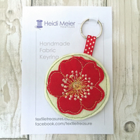 Bag charm - handbag charm of a briar rose in textile