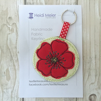 Gifts for nature lovers - textile poppy key ring