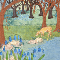 Bluebell wood - woodland textile wall art with deer, ribbon embroidery