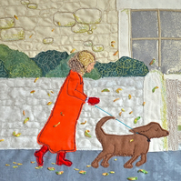 A Blustery Day- autumn textile applique artwork ribbon embroidery & Toby the dog