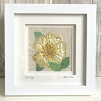 Briar rose dog rose silk floral textile artwork - anniversary gift wall art