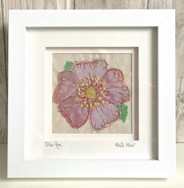 Briar rose dog rose silk textile artwork - anniversary gift wall Mother's Day