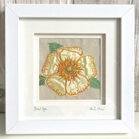 Briar rose dog rose silk textile artwork - anniversary gift flower wall art