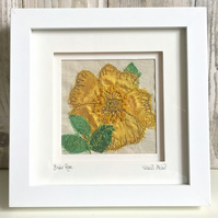 Briar rose dog rose silk textile artwork - hand and freestyle machine embroidery