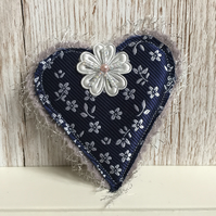 Heart brooch - textile fabric brooch or use as hat accessory