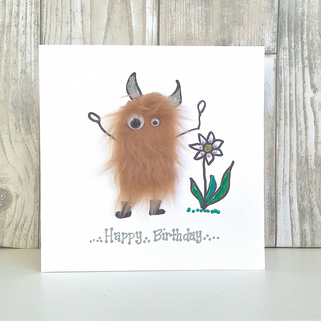 Birthday card for gardeners - garden flower loving mini monster in wellies