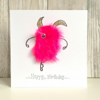 Hot pink ballerina Birthday card - fun fluffy mini monster dancer dancing ballet