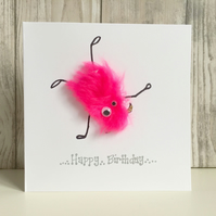 Birthday card - fun pink sporty gymnast acrobat doing a cartwheel, boy or girl