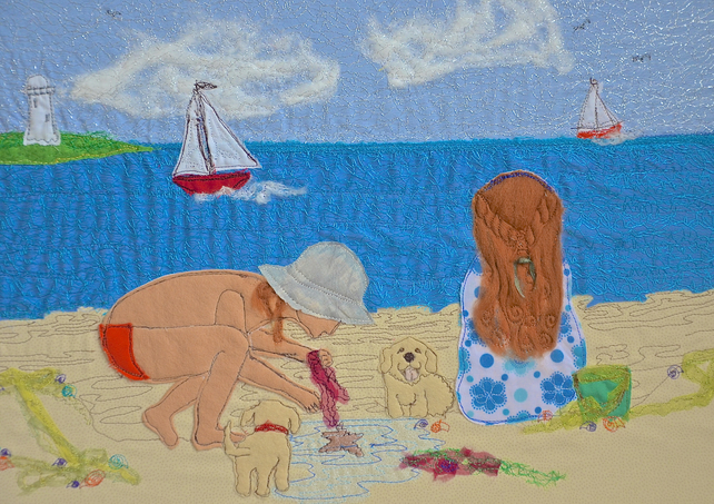 Children and dogs on beach picture - Seaside discoveries