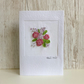 Birthday card - floral flower posy bouquet of embroidered roses, silk ribbon
