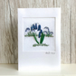 Birthday card - floral flower posy bouquet of embroidered bluebells, silk ribbon