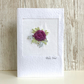 Greetings card - textile floral flower rose - Birthday, Valentine, Anniversary
