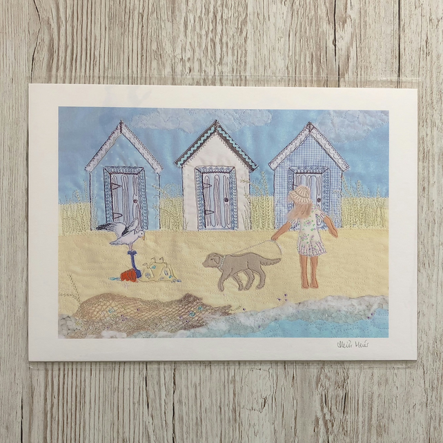 Beach Huts print - beach art with dog, sandcastles and seagull