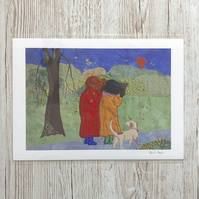 Fun autumn country scene of two ladies and dog with hat blowing away in the wind