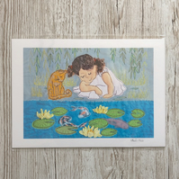 Waterlilies - print of waterlilies, cat and little girl beside koi carp pond