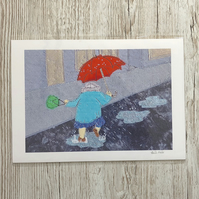 Granny splashing in puddles picture - Dancing in the rain giclee print