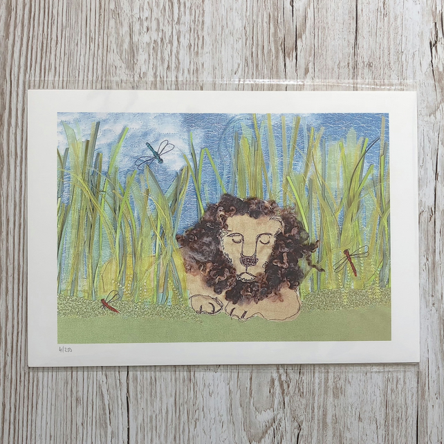 Sleeping Lion print - lion sleeping amongst grasses and dragonflies art