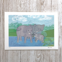 SALE 50% Elephant print - elephant family art with baby elephant picture
