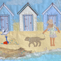 Beach Huts giclee print - beach huts art picture British coastal iconic scene
