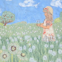 Dandelion clocks and girl countryside meadow scene print