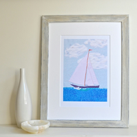 Sailing Boat personalised picture art print - bespoke customised giclee print