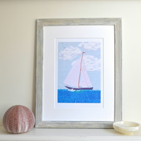 Sailing Boat picture art print - sea coastal yacht picture