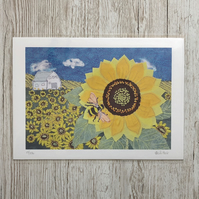 Sunflower and bumblebee limited edition giclee print A4