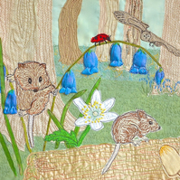 Woodland Mouse print - picture of a woodland mouse climbing bluebells with owl
